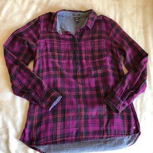 Eddie Bauer flannel tunic pink and navy sizeM euc
